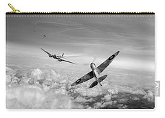 Carry-all Pouch featuring the photograph Spitfire Attacking Heinkel Bomber Black And White Version by Gary Eason