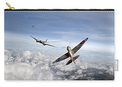 Carry-all Pouch featuring the photograph Spitfire Attacking Heinkel Bomber by Gary Eason