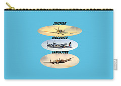 Carry-all Pouch featuring the painting Spitfire Mosquito Lancaster Aircraft With Name Banners by Bill Holkham