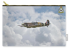 Carry-all Pouch featuring the digital art  Spitfire - Us Eagle Squadron by Pat Speirs