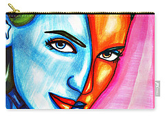 Split Personality Woman Abstract Drawing Carry-all Pouch