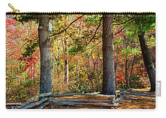 Split Rail Fence And Autumn Leaves Carry-all Pouch