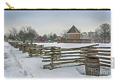 Split Rail Fence In Front Of Colonial Williamsburg Magazine Carry-all Pouch