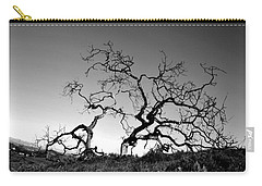 Split Single Tree On Hillside - Black And White Carry-all Pouch