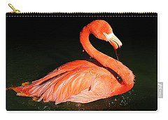 Spotlight On A Bathing Flamingo Carry-all Pouch