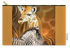 Carry-all Pouch featuring the mixed media Spots And Stripes - Giraffe And Zebra by Carol Cavalaris