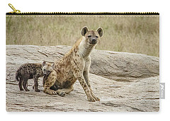Spotted Hyena And Loving Cub Carry-all Pouch by Janis Knight