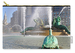 Carry-all Pouch featuring the photograph Spraying Water At Swann Fountain - Philadelphia by Bill Cannon