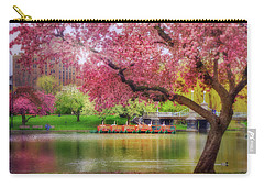 Carry-all Pouch featuring the photograph Spring Afternoon In The Boston Public Garden - Boston Swan Boats by Joann Vitali