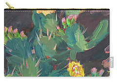 Carry-all Pouch featuring the painting Spring And Prickly Burst Cactus by Diane McClary