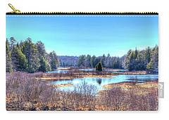 Carry-all Pouch featuring the photograph Spring Scene At The Tobie Trail Bridge by David Patterson