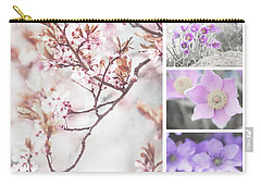 Carry-all Pouch featuring the photograph Spring Bloom Collage 1. Shabby Chic Collection by Jenny Rainbow
