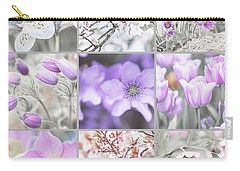 Carry-all Pouch featuring the photograph Spring Bloom Collage. Shabby Chic Collection by Jenny Rainbow