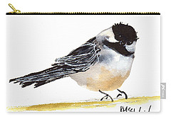 My Little Chickadee Bird Art Watercolor And Gouache And Ink Painting By Kmcelwaine Carry-all Pouch