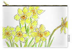 Carry-all Pouch featuring the painting Spring Daffodils by Cathie Richardson