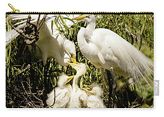 Spring Egret Chicks Carry-all Pouch by Robert Frederick