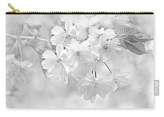 Carry-all Pouch featuring the photograph Spring Flower Blossoms Soft Gray by Jennie Marie Schell