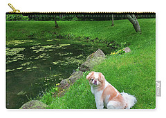 Carry-all Pouch featuring the photograph Spring Green Japanese Chin by Roger Bester