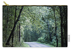 Carry-all Pouch featuring the photograph Spring Light On A Forest Road by Parker Cunningham