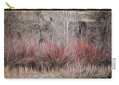Carry-all Pouch featuring the photograph Spring Red Bushes by Yulia Kazansky