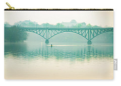Carry-all Pouch featuring the photograph Spring - Rowing Under The Strawberry Mansion Bridge by Bill Cannon