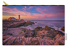 Spring Sunset At Portland Head Lighthouse Carry-all Pouch by Rick Berk