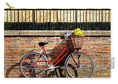 Carry-all Pouch featuring the photograph Spring Sunshine And Shadows - Bicycle In Cambridge by Gill Billington