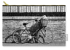 Carry-all Pouch featuring the photograph Spring Sunshine And Shadows In Black And White by Gill Billington