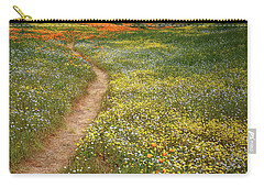 Carry-all Pouch featuring the photograph Spring Trail Through A Sea Of Wildflowers At Diamond Lake In California by Jetson Nguyen