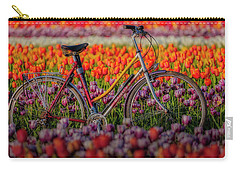 Carry-all Pouch featuring the photograph Spring Tulips And Bicycle by Susan Candelario
