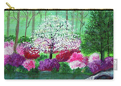 Carry-all Pouch featuring the painting Springtime Azaleas In Georgia by Sonya Nancy Capling-Bacle