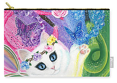 Carry-all Pouch featuring the painting Springtime Magic - White Fairy Cat by Carrie Hawks