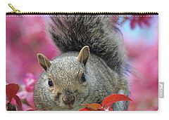 Carry-all Pouch featuring the photograph Squirrel In Apple Blossoms by Doris Potter