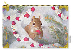 Carry-all Pouch featuring the painting Squirrel In Snow With Cranberries by Nancy Lee Moran