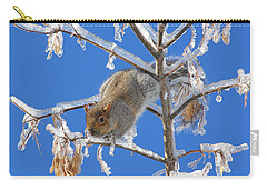 Carry-all Pouch featuring the photograph Squirrel On Icy Branches by Doris Potter