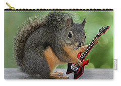 Squirrel Playing Electric Guitar Carry-all Pouch by Peggy Collins