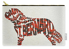 Carry-all Pouch featuring the painting St. Bernard Dog Watercolor Painting / Typographic Art by Ayse and Deniz