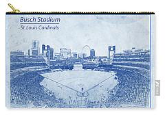 St. Louis Cardinals Busch Stadium Blueprint Words Carry-all Pouch by David Haskett
