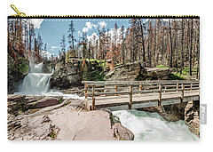 Carry-all Pouch featuring the photograph St. Mary Falls With Bridge by Margaret Pitcher