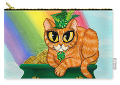 Carry-all Pouch featuring the painting St. Paddy's Day Cat - Orange Tabby by Carrie Hawks