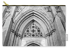 St Patrick's Cathedral Door Black And White  Carry-all Pouch