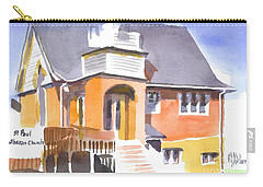 Carry-all Pouch featuring the painting St Paul Lutheran In Watercolor 2 by Kip DeVore