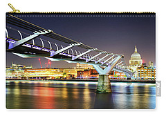 St Paul's Cathedral During Night From The Millennium Bridge Over River Thames, London, United Kingdom. Carry-all Pouch