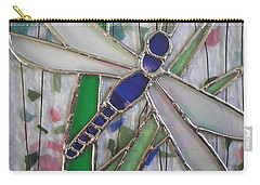 Stained Glass Dragonfly In Reeds By Karen J Jones Carry-all Pouch