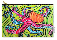 Carry-all Pouch featuring the drawing Stained Glass Octopus by Justin Moore