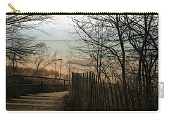 Carry-all Pouch featuring the photograph Stairs To The Beach In Winter by Michelle Calkins