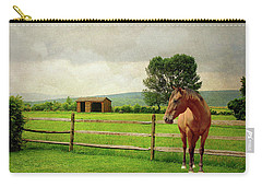 Carry-all Pouch featuring the photograph Stallion At Fence by Diana Angstadt