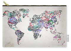 Stamp Art World Map Carry-all Pouch