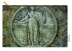 Carry-all Pouch featuring the digital art Standing Libery Quarter Obverse by Randy Steele