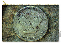 Carry-all Pouch featuring the digital art Standing Libery Quarter Reverse by Randy Steele